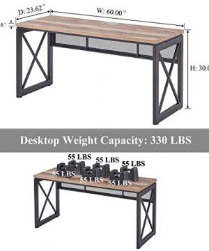 BON AUGURE Industrial Office Computer Desk Wood And Metal Writing Gaming Desk Workstation Desk For Home Office 60 Inch Vintage Oak 0 2 300x360