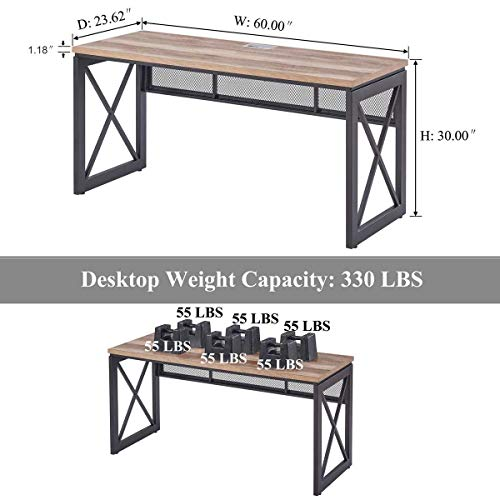 BON AUGURE Industrial Office Computer Desk Wood And Metal Writing Gaming Desk Workstation Desk For Home Office 60 Inch Vintage Oak 0 2