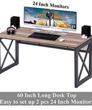 BON AUGURE Industrial Office Computer Desk Wood And Metal Writing Gaming Desk Workstation Desk For Home Office 60 Inch Vintage Oak 0 3 300x360