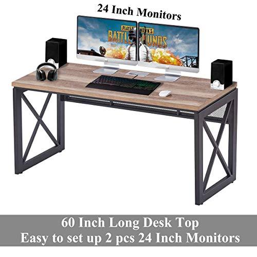 BON AUGURE Industrial Office Computer Desk Wood And Metal Writing Gaming Desk Workstation Desk For Home Office 60 Inch Vintage Oak 0 3