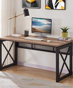 BON AUGURE Industrial Office Computer Desk Wood And Metal Writing Gaming Desk Workstation Desk For Home Office 60 Inch Vintage Oak 0 300x360