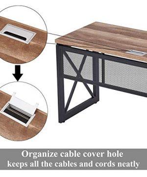BON AUGURE Industrial Office Computer Desk Wood And Metal Writing Gaming Desk Workstation Desk For Home Office 60 Inch Vintage Oak 0 4 300x360