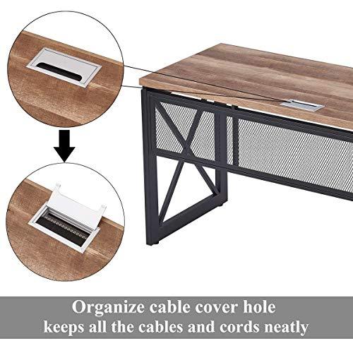 BON AUGURE Industrial Office Computer Desk Wood And Metal Writing Gaming Desk Workstation Desk For Home Office 60 Inch Vintage Oak 0 4
