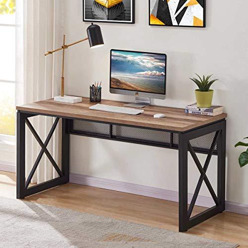 BON AUGURE Industrial Office Computer Desk Wood And Metal Writing Gaming Desk Workstation Desk For Home Office 60 Inch Vintage Oak 0