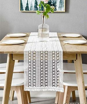BOXAN 12 X 108 Macrame Table Runner With Tassels Vintage Wedding Crochet Lace Fringe Table Runner Overlay For Rustic Wedding Bridal Shower Decoration Boho Farmhouse Home Dining Table Linen Decor 0 300x360