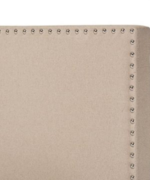 Baxton Studio Rosalie Modern And Contemporary Beige Linen Upholstered Bed With Nail Heads Queen 0 1 300x360