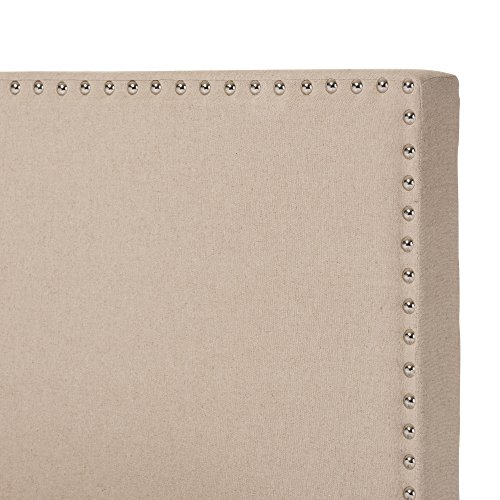 Baxton Studio Rosalie Modern And Contemporary Beige Linen Upholstered Bed With Nail Heads Queen 0 1