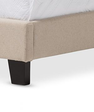 Baxton Studio Rosalie Modern And Contemporary Beige Linen Upholstered Bed With Nail Heads Queen 0 2 300x360