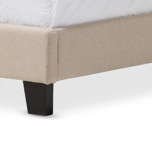 Baxton Studio Rosalie Modern And Contemporary Beige Linen Upholstered Bed With Nail Heads Queen 0 2
