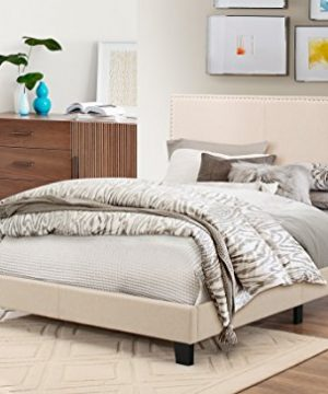 Baxton Studio Rosalie Modern And Contemporary Beige Linen Upholstered Bed With Nail Heads Queen 0 3 300x360