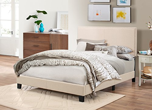 Baxton Studio Rosalie Modern And Contemporary Beige Linen Upholstered Bed With Nail Heads Queen 0 3