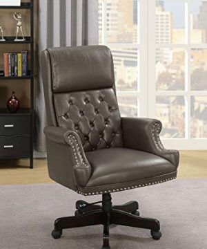 Benjara Benzara Leatherette Upholstered Tufted Office Chair With Nail Head Trim Gray 0 300x360