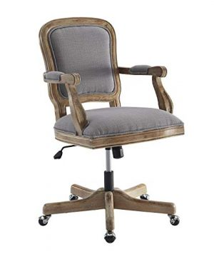 Benjara Fabric Upholstered Wooden Office Swivel Chair With Adjustable Height Gray 0 0 300x360
