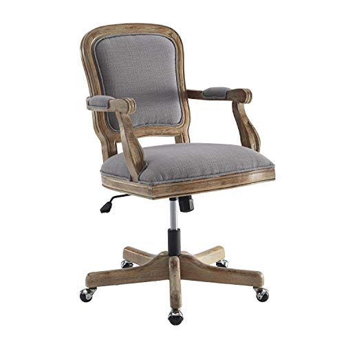 Benjara Fabric Upholstered Wooden Office Swivel Chair With Adjustable Height Gray 0 0