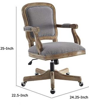 Benjara Fabric Upholstered Wooden Office Swivel Chair With Adjustable Height Gray 0 3 300x360
