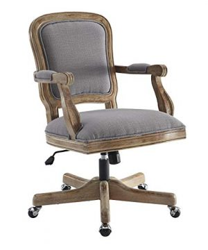 Benjara Fabric Upholstered Wooden Office Swivel Chair With Adjustable Height Gray 0 300x360