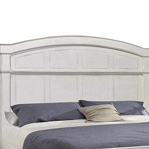 Benjara Farmhouse Style Arched Panel California King Bed With Molded Details White 0 0