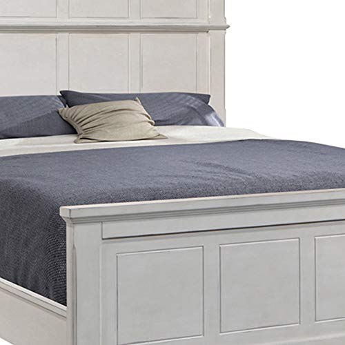 Benjara Farmhouse Style Arched Panel California King Bed With Molded Details White 0 1