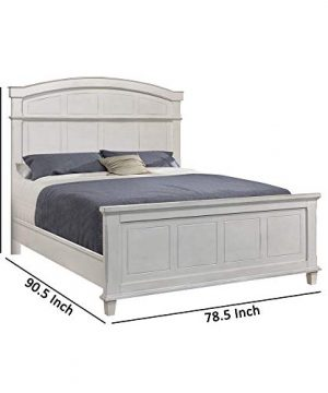 Benjara Farmhouse Style Arched Panel California King Bed With Molded Details White 0 3 300x360