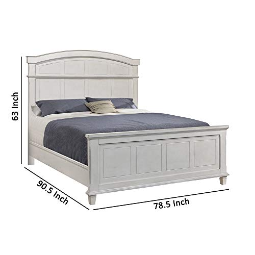 Benjara Farmhouse Style Arched Panel California King Bed With Molded Details White 0 3