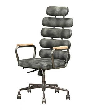 Benjara Leatherette Metal Swivel Executive Chair With Five Horizontal Panels Backrest Gray Black 0 300x360