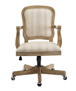 Benjara Striped Fabric Upholstered Office Swivel Chair With Adjustable Height Beige 0 0 300x360