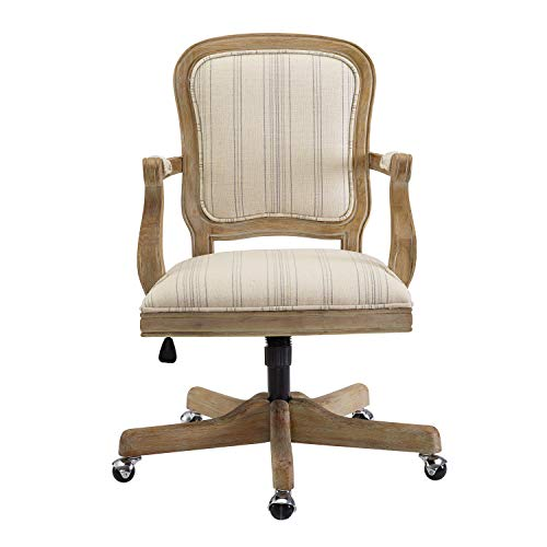 Benjara Striped Fabric Upholstered Office Swivel Chair With Adjustable Height Beige 0 0