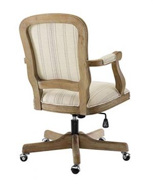 Benjara Striped Fabric Upholstered Office Swivel Chair With Adjustable Height Beige 0 1 300x360