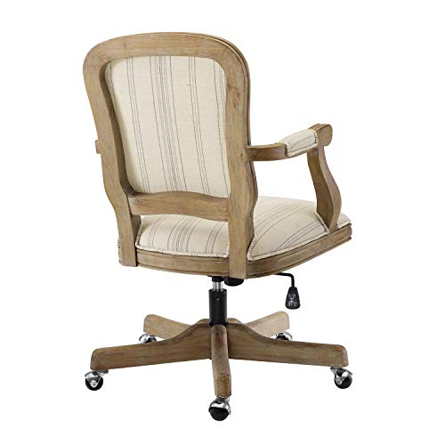 Benjara Striped Fabric Upholstered Office Swivel Chair With Adjustable Height Beige 0 1