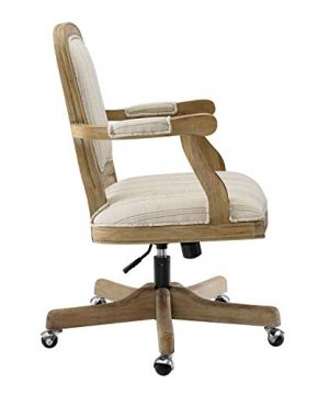Benjara Striped Fabric Upholstered Office Swivel Chair With Adjustable Height Beige 0 2 300x360