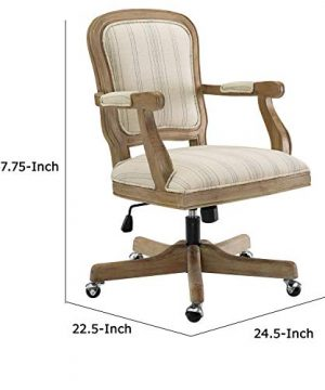Benjara Striped Fabric Upholstered Office Swivel Chair With Adjustable Height Beige 0 3 300x360