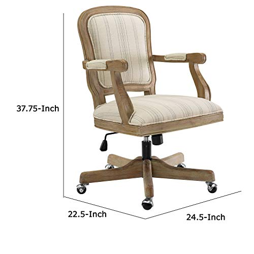 Benjara Striped Fabric Upholstered Office Swivel Chair With Adjustable Height Beige 0 3
