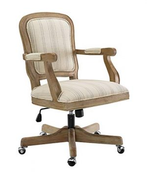 Benjara Striped Fabric Upholstered Office Swivel Chair With Adjustable Height Beige 0 300x360