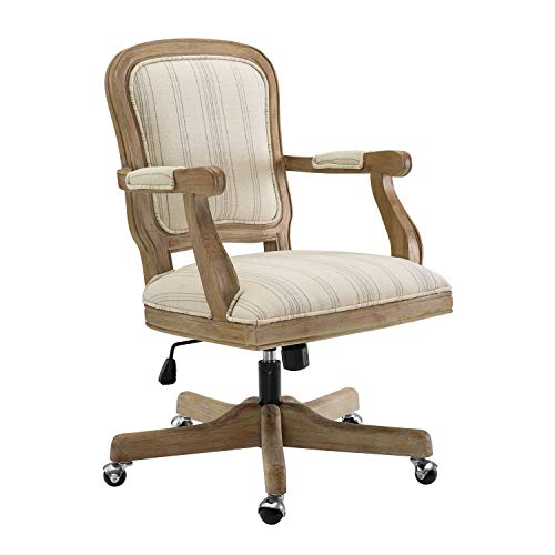 Benjara Striped Fabric Upholstered Office Swivel Chair With Adjustable Height Beige 0