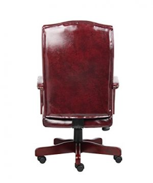 Boss Office Products Classic Executive Caressoft Chair With Mahogany Finish In Burgundy 0 0 300x360