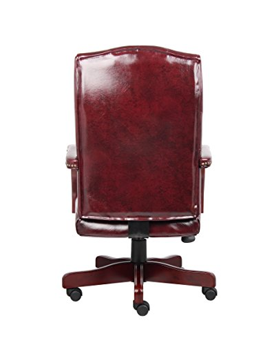 Boss Office Products Classic Executive Caressoft Chair With Mahogany Finish In Burgundy 0 0