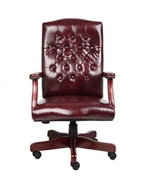 Boss Office Products Classic Executive Caressoft Chair With Mahogany Finish In Burgundy 0 1 300x360