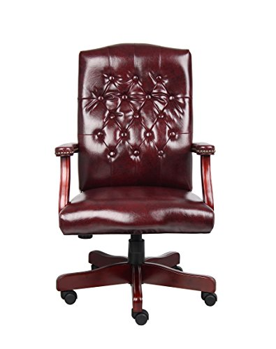 Boss Office Products Classic Executive Caressoft Chair With Mahogany Finish In Burgundy 0 1