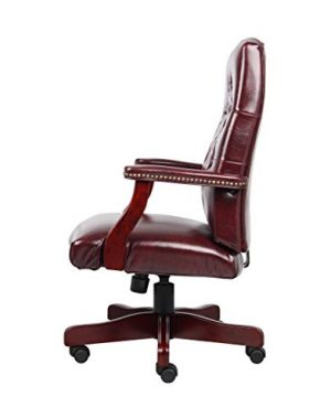 Boss Office Products Classic Executive Caressoft Chair With Mahogany Finish In Burgundy 0 2 300x360