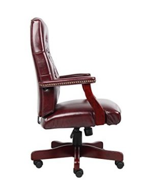 Boss Office Products Classic Executive Caressoft Chair With Mahogany Finish In Burgundy 0 3 300x360