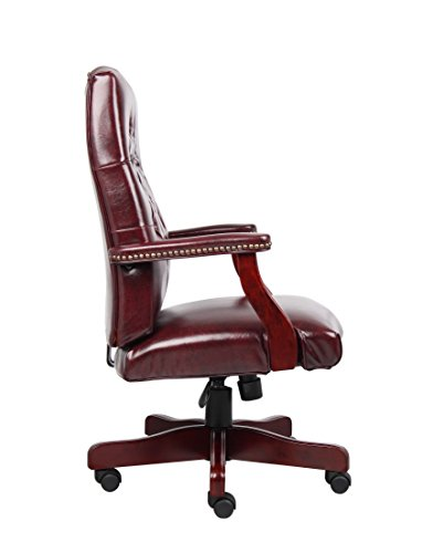 Boss Office Products Classic Executive Caressoft Chair With Mahogany Finish In Burgundy 0 3
