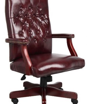 Boss Office Products Classic Executive Caressoft Chair With Mahogany Finish In Burgundy 0 300x360