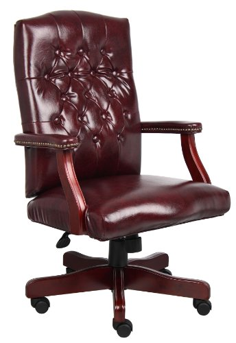 Boss Office Products Classic Executive Caressoft Chair With Mahogany Finish In Burgundy 0