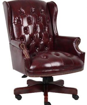Boss Office Products Wingback Traditional Chair In Burgundy 0 300x360