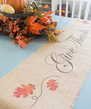 Burlap Table Runner Give Thanks Oak Leaves 0 300x360