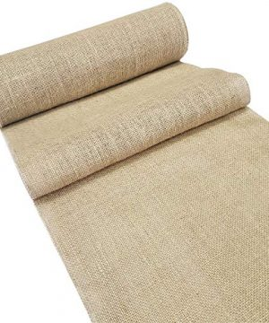 Burlap Table Runner Roll 14 Wide X 30 Yards Extra Long Jute Burlap Roll Natural Rustic Burlap Fabric No FRAY Burlap Runner With OVERLOCKED Finished Sewn Edges For Country Wedding Decoration 0 300x360