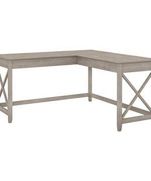 Bush Furniture Key West 60W L Shaped Desk In Washed Gray 0 300x360