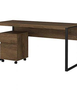 Bush Furniture Latitude Desk And Cabinet 60W Rustic Brown 0 300x360