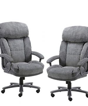 CLATINA Ergonomic Big Tall Executive Office Chair With Upholstered Swivel 400lbs High Capacity Adjustable Height Thick Padding Headrest And Armrest For Home Office BIFMA Certified Grey 2 Pack 0 300x360