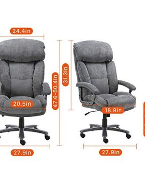 CLATINA Ergonomic Big Tall Executive Office Chair With Upholstered Swivel 400lbs High Capacity Adjustable Height Thick Padding Headrest And Armrest For Home Office BIFMA Certified Grey 2 Pack 0 5 300x360